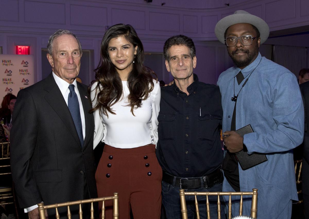 FIRST_Gala_2015_Major Michael Bloomberg, Honoree Diana Lee Guzman, Dean Kamen, Will.i.am